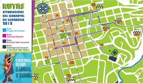 Carnaval de Guaranda 2012 Ruta de comparsas