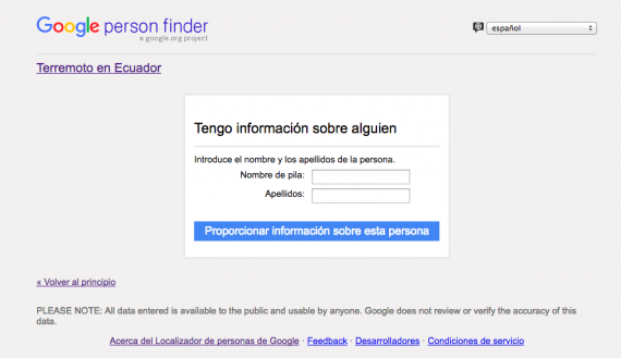 Person Finder encuentra a tus familiares