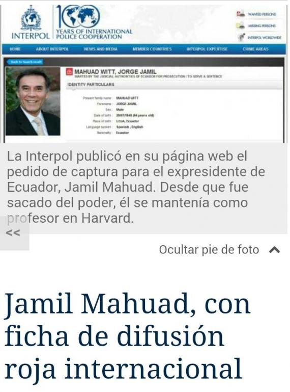 Jamil Mahuad entra en Lista dela Interpol - Pedido de captura